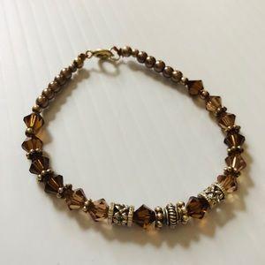 Brown Swarovski Tricone Faux Pearl Bracelet